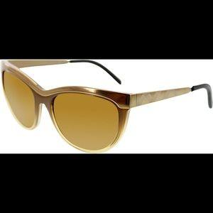 Burberry Cat Eye Gradient Brown Gold Sunglasses